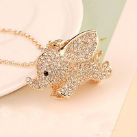Rhinestone Elephant Necklace from LOOBACK FASHION STORE