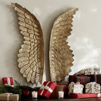 Golden Carved Wood Wings