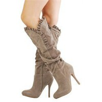 Qupid Mirror14 Taupe Ruffle Trim Suede Knee Boots and Womens Fashion Clothing &amp; Shoes - Make Me Chic