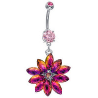 Freshtrends.com Rainbow Shimmering Snowflake Dangle Belly Button Ring Surgical Steel