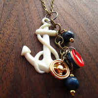 Vintage Nautical Cluster Necklace by lettersfromaubrey on Etsy