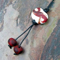 Multi Use Leather Belt Purse Key Saddle Backpack Lampwork Bead Charm