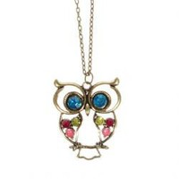 Fashionable Hollowed-out Owl and Colour Rhinestone Inlaid Pendant Style Metal Necklace Neck Decor for Female (Gold)