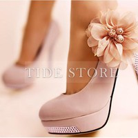Sweet Pink Platform Upper Stiletto Heel Closed-toes Wedding Bridal Shoes: tidestore.com