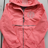 Monogrammed Rain Jacket Personalized Adult Sizes