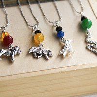 Harry Potter Necklace Inspired Hogwarts House Charms by CharmTopia