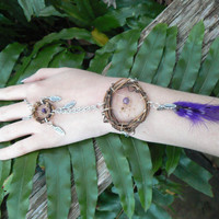dreamcatcher slave bracelet amethyst feathers  boho gypsy hipster southwestern  native american inspired style
