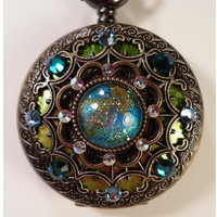 Mermaid Watch Pendant Locket Steampunk Art Nouveau Victorian Green Blue Necklace Jewelry  Lusk