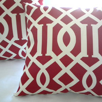 Red Light Ivory Lattice Trellis pillow cover 18 x 18