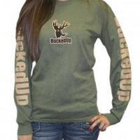 BuckedUp Logo Womens Long Sleeve - Olive with Tan Logo