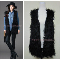 Black Long Curly Hair Faux Fur Long Waistcoat Vest