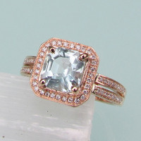 Asscher Cut Aquamarine 14k Rose Gold Diamond Halo Ring with Double Shank Gemstone Engagement Ring Wedding Anniversary