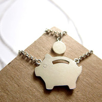 Piggy Bank Necklace - Handmade Silver Necklace | SmilingSilverSmith handmade silver ring & jewelry