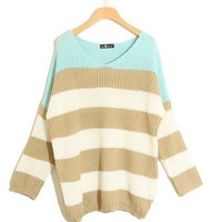 Fashion stripes mixed colors Slim loose wild sweater from Fashion Accessories Store