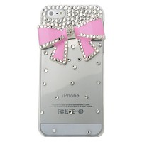 MinisDesign® 3d Bling Crystal Bow Transparent Case for The New Apple Iphone 5 (Pink, Fits: At