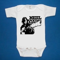 Neil Young screenprint baby Onesuit by SmokinChix on Etsy