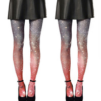 2X Galaxy Tights Crimson Galaxy Space Sheer Leggings, Gift