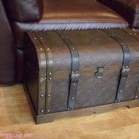 Antique Victorian Wood Trunk Wooden Treasure Hope Chest -- Medium Size