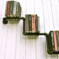 Bookshelf Pair Industrial Pipe Mario Bros 1up by stellableudesigns