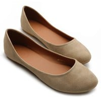 Ollio Womens Ballet Flats Loafers Comfort Light Faux Suede Low Heels Beige Shoes