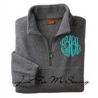 Monogrammed Halfzip pullover jacket by JustForMeSewing on Etsy