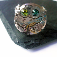 Steampunk watch  Ring - READY TO SHIP Steam Punk Watch clockwork Adjustable filigree Jewelry Emeral Green Olivine Swarovski