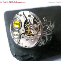 On Sale 25% off Jewelry Steampunk Ring Vintage Watch Ring clockwork  Jonquil Citrine Yellow Swarovski crystal Antique Silver Filigree ready