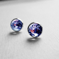 Earth Image Post Earrings - Tiny Earring Studs