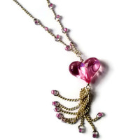 Necklace Pink Heart Silver chain dangle delicate feminine Valentine jewelry
