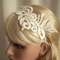 Delphinium ivory lace headband by StitchFromTheHeart on Etsy