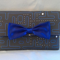 Pacman Wallet  with Blue Silk Bow and Interior by RebelDowntown