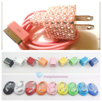 Custom Swarovsky crystal rhinestone Bling 10 Color Cell Phone Adapter Wall Charger  iPhone 3 3g 4 4s 5 iPad iPod iTouch Samsung