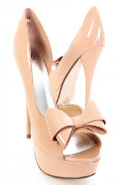 Natural Faux Patent Leather Bow Accent Peep Toes Platform Heels