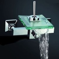 Creative Waterfall Widespread Glass Bath Faucet EXS-208