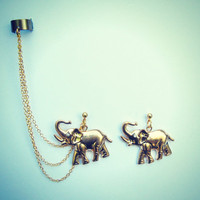 ear cuff with gold plated elephant earrings, chains ear cuff, ear cuff earrings, ear cuff with chains
