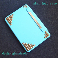 ipad case,iPad mini Case, iPad mini Cover ,iPad,blue case with bronze studs,studded mini ipad case--rotatable case