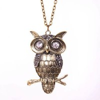 Vintage Owl Long Chain Pendant Necklace at Online Jewelry Store Gofavor