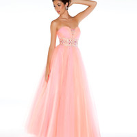 Mac Duggal Prom 2013-Candy Pink Strapless Gown With Candy Color Embellisments - Unique Vintage - Cocktail, Pinup, Holiday &amp; Prom Dresses.