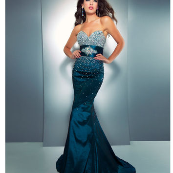 mac duggal prom 2013 strapless teal from unique vintage