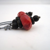 red coral earrings  sponge coral onyx coconut wood  by BeaKez