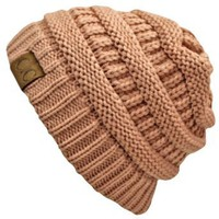 Amazon.com: Light Rose Pink Thick Slouchy Knit Oversized Beanie Cap Hat: Clothing