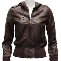 Amazon.com: Ladies Plus Size Brown Synthetic Hooded Leather Jacket: Clothing