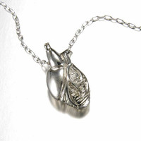 Small Sterling Silver Anatomical Heart by PeggySkempJewelry