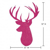 Wake Up Frankie - Deer Head Wall Decal - Pink : Teen Bedding, Pink Bedding, Dorm Bedding, Teen Comforters