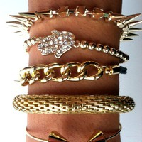 Gold Spiked Skull Bracelet Set from Belle La Vie Boutique