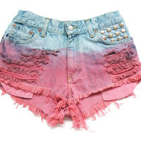 Studded high waisted jean shorts S