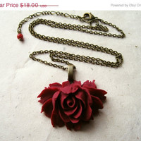 Oxblood Rose Necklace. Oxblood Jewelry. Flower Pendant Necklace, Resin Flower Necklace, Wine Necklace. Vintage Inspired Long Necklace.