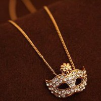 Chick&Stylish - Zehui Fashion Cute Flower Full Rhinestone Crystal Opera Masquerade Mask Necklace Penda