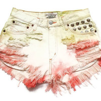 Pastel tie dye high waisted denim shorts S
