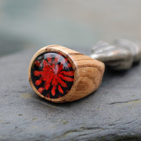 Wood Ring Glass Cab Boro Borosilicate Lampwork Wooden by Venbead